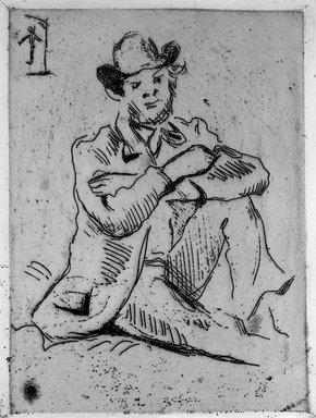 Paul Cézanne (French, 1839-1906). <em>Guillaumin at the Hanged Man (Guillaumin au pendu)</em>, 1873. Etching on laid paper, 6 1/8 x 4 3/4 in. (15.6 x 12 cm). Brooklyn Museum, By exchange, 36.967 (Photo: Brooklyn Museum, 36.967_bw.jpg)