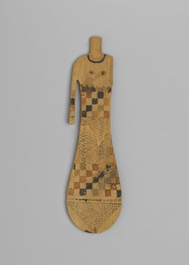 <em>Paddle Doll</em>, ca. 2008-1630 B.C.E. Wood, pigment, 8 1/8 x 2 5/16 x 1/4 in. (20.6 x 5.8 x 0.6 cm). Brooklyn Museum, Charles Edwin Wilbour Fund, 37.105E. Creative Commons-BY (Photo: Brooklyn Museum, 37.105E_front_PS2.jpg)