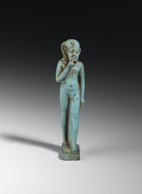 <em>Statue of Horus as a Child</em>, 664-332 B.C.E. Faience, 3 7/8 x 13/16 x 1 in. (9.8 x 2 x 2.6 cm). Brooklyn Museum, Charles Edwin Wilbour Fund, 37.1095E. Creative Commons-BY (Photo: Brooklyn Museum, 37.1095E_front_PS2.jpg)