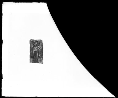 <em>Plaque with Girdle - Tie Amulet in Relief</em>. Faience, glazed, 1 1/4 x 11/16 x 1/4 in. (3.2 x 1.8 x 0.6 cm). Brooklyn Museum, Charles Edwin Wilbour Fund, 37.1167E. Creative Commons-BY (Photo: Brooklyn Museum, 37.1167E_NegA_SL4.jpg)
