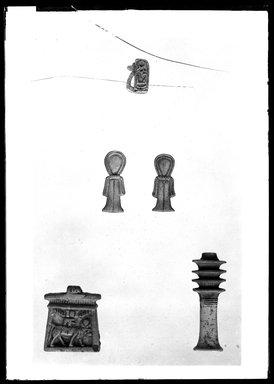 <em>Wadjet-eye Amulet Inscribed for Amunhotep III</em>, ca. 1390-1353 B.C.E. Faience, 4 5/16 x 1 15/16 x 6 5/16 in. (11 x 5 x 16 cm). Brooklyn Museum, Charles Edwin Wilbour Fund, 37.1298E. Creative Commons-BY (Photo: , 37.1168E_37.1232E_37.1233E_37.1278E_37.1298E_GrpA_SL4.jpg)