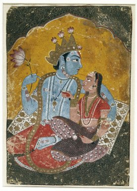 Indian. <em>Krishna and Radha</em>, ca. 1690-1700. Opaque watercolor with embossed gold on paper, sheet: 10 1/8 x 7 in.  (25.7 x 17.8 cm). Brooklyn Museum, Brooklyn Museum Collection, 37.122 (Photo: Brooklyn Museum, 37.122_IMLS_SL2.jpg)