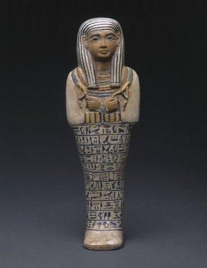 <em>Shabty of Lady Sati</em>, ca. 1390-1352 B.C.E. Faience, 10 1/4 × 3 1/2 × 2 1/4 in. (26 × 8.9 × 5.7 cm). Brooklyn Museum, Charles Edwin Wilbour Fund, 37.124E. Creative Commons-BY (Photo: Brooklyn Museum, 37.124E_SL1.jpg)
