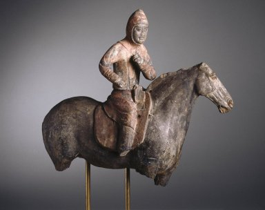 <em>Horse and Rider</em>, 385-534 C.E. Earthenware, 14 x 7 x 15 3/4 in. (35.6 x 17.8 x 40 cm). Brooklyn Museum, By exchange, 37.126. Creative Commons-BY (Photo: Brooklyn Museum, 37.126_SL1.jpg)