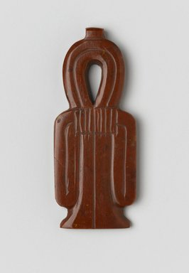<em>Amulet in the Form of Tyt</em>, ca. 1539-1075 B.C.E. Jasper, 2 3/8 x 1 x 3/16 in. (6 x 2.5 x 0.5 cm). Brooklyn Museum, Charles Edwin Wilbour Fund, 37.1271E. Creative Commons-BY (Photo: Brooklyn Museum, 37.1271E_front_PS2.jpg)