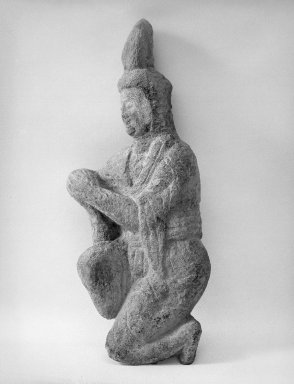 <em>Small Kneeling Figure</em>, late 5th century. Stone, 28 3/4 x 13 1/4 in. (73 x 33.7 cm). Brooklyn Museum, By exchange, 37.127. Creative Commons-BY (Photo: Brooklyn Museum, 37.127_bw.jpg)