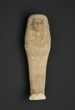 <em>Shabty of the Lady of the House Iuy</em>, ca. 1539-1400 B.C.E. Limestone, 12 1/16 x 3 3/4 x 2 3/16 in. (30.6 x 9.6 x 5.5 cm). Brooklyn Museum, Charles Edwin Wilbour Fund, 37.129E. Creative Commons-BY (Photo: Brooklyn Museum, 37.129E_PS2.jpg)