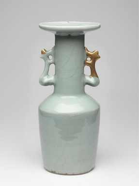 <em>Vase with Phoenix-Shaped Ears</em>, 1127-1279. High-fired green ware (celadon), 10 7/8 x 4 1/2 in. (27.7 x 11.5 cm). Brooklyn Museum, By exchange, 37.131. Creative Commons-BY (Photo: , 37.131_PS9.jpg)