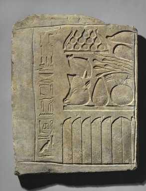 Egyptian. <em>Relief of Offering Table</em>, ca. 2008-1630 B.C.E. and ca.760-656 B.C.E. Limestone, 20 3/4 x 16 1/2 x 1 3/4 in., 32.5 lb. (52.7 x 41.9 x 4.4 cm, 14.74kg). Brooklyn Museum, Charles Edwin Wilbour Fund, 37.1355E. Creative Commons-BY (Photo: Brooklyn Museum, 37.1355E_view1_PS1.jpg)