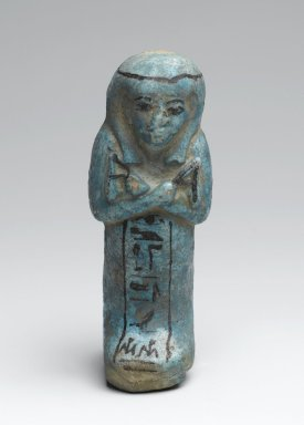 <em>Shabty of the Prophet of Amon, Harkhebit</em>, ca. 1292-1075 B.C.E. Faience, 4 7/16 x 1 11/16 x 1 9/16 in. (11.3 x 4.3 x 4 cm). Brooklyn Museum, Charles Edwin Wilbour Fund, 37.135E. Creative Commons-BY (Photo: Brooklyn Museum, 37.135E_front_PS2.jpg)