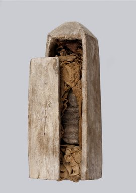<em>Obelisk-Shaped Coffin</em>, 664-332 B.C.E. Wood, animal remains, linen, 2 1/2 × 2 1/2 × 9 1/2 in. (6.4 × 6.4 × 24.1 cm). Brooklyn Museum, Charles Edwin Wilbour Fund, 37.1360Ea-c. Creative Commons-BY (Photo: Brooklyn Museum (Gavin Ashworth,er), 37.1360Ea-b_Gavin_Ashworth_photograph.jpg)