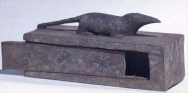 <em>Shrew Coffin with Mummy</em>, 664-332 B.C.E. Wood, pigment, animal remains, linen, 37.1362Ea (Coffin): 3 1/16 x 2 13/16 x 6 13/16 in. (7.7 x 7.1 x 17.3 cm). Brooklyn Museum, Charles Edwin Wilbour Fund, 37.1362Ea-c. Creative Commons-BY (Photo: Brooklyn Museum, 37.1362Ea-b.jpg)