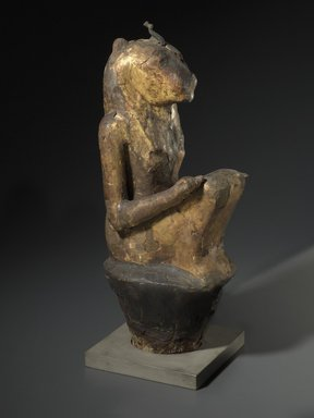 <em>Leonine Goddess</em>, 770-412 B.C.E. Wood, gold leaf, plaster, linen, bronze, animal remains, 16 3/4 x 5 1/8 x 6 1/2 in. (42.5 x 13 x 16.5 cm). Brooklyn Museum, Charles Edwin Wilbour Fund, 37.1379E. Creative Commons-BY (Photo: Brooklyn Museum, 37.1379E_threequarter_PS6.jpg)