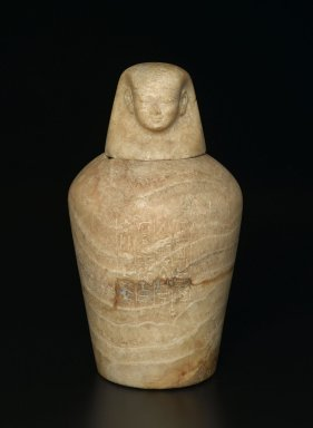 <em>Canopic Jar</em>, ca. 1980-1075 B.C.E. Egyptian alabaster (calcite), 15 1/2 × Diam. 8 in. (39.4 × 20.3 cm). Brooklyn Museum, Charles Edwin Wilbour Fund, 37.1380Ea-b. Creative Commons-BY (Photo: Brooklyn Museum, 37.1380Ea-b_front_PS2.jpg)