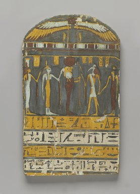 <em>Stela of the Lady of the House, Hery-ib-Neith</em>, ca. 945-712 B.C.E. Wood, stucco, pigment, 13 3/8 x 8 1/16 in. (34 x 20.4 cm). Brooklyn Museum, Charles Edwin Wilbour Fund, 37.1384E. Creative Commons-BY (Photo: Brooklyn Museum, 37.1384E_PS4.jpg)