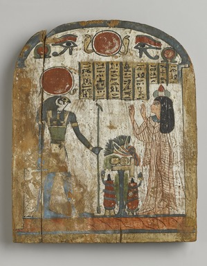 <em>Funerary Stela of Thenet</em>, ca. 945-712 B.C.E. Wood, stucco, pigment, 10 1/8 x 8 1/4 in. (25.7 x 21 cm). Brooklyn Museum, Charles Edwin Wilbour Fund, 37.1385E. Creative Commons-BY (Photo: Brooklyn Museum, 37.1385E_PS4.jpg)
