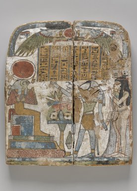 <em>Funerary Stela</em>, ca. 945-712 B.C.E. Wood, stucco, pigment, 9 3/4 x 8 1/2 x 1 3/16 in. (24.8 x 21.6 x 3 cm). Brooklyn Museum, Charles Edwin Wilbour Fund, 37.1386E. Creative Commons-BY (Photo: , 37.1386E_PS9.jpg)