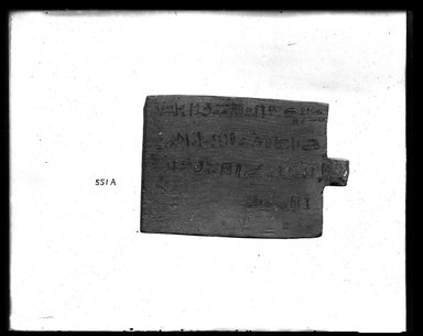 <em>Large Tag for Mummy</em>, 664-332 B.C.E. Wood, pigment, 5 1/2 x 3 3/4 x 9/16 in. (14 x 9.5 x 1.5 cm). Brooklyn Museum, Charles Edwin Wilbour Fund, 37.1394E. Creative Commons-BY (Photo: Brooklyn Museum, 37.1394E_NegA_SL4.jpg)