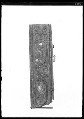 <em>Small Fragment of Panel</em>, 664-525 B.C.E. Wood, gesso, linen, gold leaf, glass, 1 7/16 x 3/8 x 4 3/4 in. (3.7 x 1 x 12 cm). Brooklyn Museum, Charles Edwin Wilbour Fund, 37.1420E. Creative Commons-BY (Photo: Brooklyn Museum, 37.1420E_NegA_SL4.jpg)