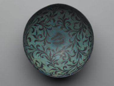 <em>Bowl with Water-Weed Motif</em>, early 13th century. Ceramic; fritware, painted in black under a transparent turquoise glaze, 3 3/4 x 7 11/16 in. (9.5 x 19.5 cm). Brooklyn Museum, Designated Purchase Fund, 37.147. Creative Commons-BY (Photo: Brooklyn Museum, 37.147_top_PS2.jpg)