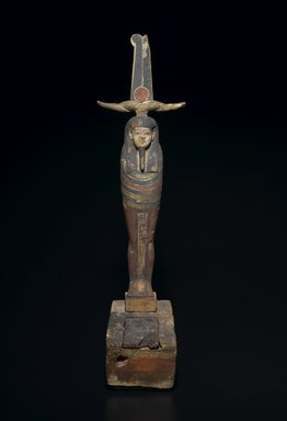 <em>Mummiform Figure of Osiris</em>, 664-332 B.C.E. Wood, pigment, 25 3/4 x 7 x 11 in. (65.4 x 17.8 x 27.9 cm). Brooklyn Museum, Charles Edwin Wilbour Fund, 37.1481E. Creative Commons-BY (Photo: Brooklyn Museum, 37.1481E_front_PS2.jpg)
