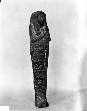<em>Shabty of Amunmose</em>, ca. 1479-1352 B.C.E. Wood, 8 9/16 x 2 1/16 in. (21.7 x 5.3 cm). Brooklyn Museum, Charles Edwin Wilbour Fund, 37.149E. Creative Commons-BY (Photo: Brooklyn Museum, 37.149E_NegC_glass_bw_SL4.jpg)
