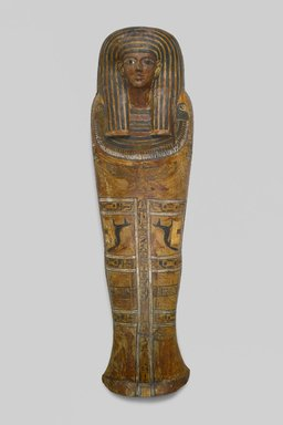 <em>Anthropoid Coffin of the Servant of the Great Place, Teti</em>, ca. 1339-1307 B.C.E. Wood, pigment, Box with lid in place: 33 7/16 x 26 3/16 x 83 1/2 in., 248 lb. (85 x 66.5 x 212.1 cm, 112.5kg). Brooklyn Museum, Charles Edwin Wilbour Fund, 37.14Ea-b. Creative Commons-BY (Photo: Brooklyn Museum, 37.14E_front_PS1.jpg)