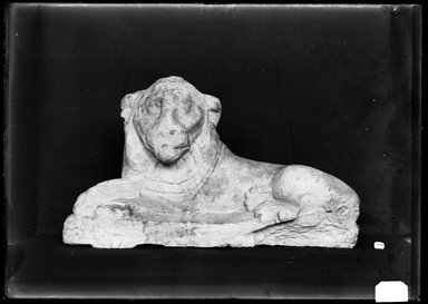<em>Figure of Recumbent Lion</em>, 305 B.C.E.-395 C.E. Limestone, 12 3/8 x 6 5/16 x 21 5/8 in. (31.5 x 16.1 x 55 cm). Brooklyn Museum, Charles Edwin Wilbour Fund, 37.1500E. Creative Commons-BY (Photo: Brooklyn Museum, 37.1500E_NegA_SL4.jpg)