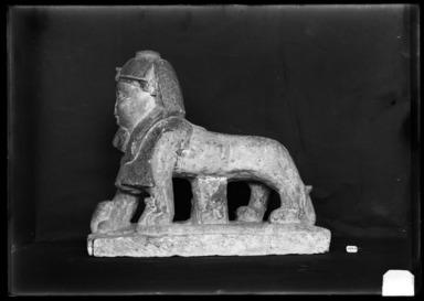 <em>God Tutu as a Sphinx</em>, 1st century C.E. or later. Limestone, pigment, 14 1/4 x 5 1/16 x 16 11/16 in. (36.2 x 12.8 x 42.4 cm). Brooklyn Museum, Charles Edwin Wilbour Fund, 37.1509E. Creative Commons-BY (Photo: Brooklyn Museum, 37.1509E_NegB_SL4.jpg)