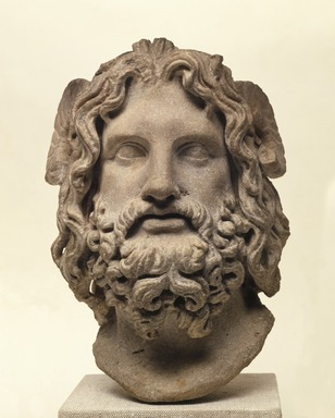 Roman. <em>Head of Serapis</em>, 75-150 C.E. Marble, 10 3/8 x 7 3/8 x 6 7/8 in. (26.4 x 18.7 x 17.5 cm). Brooklyn Museum, Charles Edwin Wilbour Fund, 37.1522E. Creative Commons-BY (Photo: Brooklyn Museum, 37.1522E_SL1.jpg)
