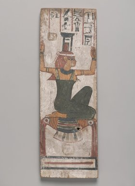 <em>Coffin Panel with Goddess Nephthys</em>, 664-332 B.C.E. Wood, pigment, 14 7/16 x 4 15/16 x 1/2 in. (36.6 x 12.6 x 1.3 cm). Brooklyn Museum, Charles Edwin Wilbour Fund, 37.1529E. Creative Commons-BY (Photo: , 37.1529E_PS9.jpg)