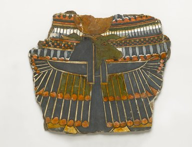 <em>Fragment of Cartonnage from Breast of Mummy</em>, ca. 945-656 B.C.E. Cartonnage, pigment, 9 1/4 x 10 11/16 x 1/4 in. (23.5 x 27.1 x 0.7 cm). Brooklyn Museum, Charles Edwin Wilbour Fund, 37.1531E. Creative Commons-BY (Photo: Brooklyn Museum, 37.1531E_PS4.jpg)