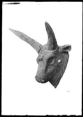 <em>Bull's Head</em>, 664-332 B.C.E. Wood, glass, bone (bovine?), 11 3/4 x 15 x 14 in. (29.8 x 38.1 x 35.6 cm). Brooklyn Museum, Charles Edwin Wilbour Fund, 37.1532E. Creative Commons-BY (Photo: Brooklyn Museum, 37.1532E_NegA_SL4.jpg)