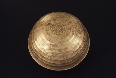 <em>Bowl with Floral Decoration</em>, 525-404 B.C.E. Bronze, tin, 2 15/16 x Diam.  7/16 in. (7.5 x 13.8 cm). Brooklyn Museum, Charles Edwin Wilbour Fund, 37.1538E. Creative Commons-BY (Photo: Brooklyn Museum, 37.1538E.jpg)