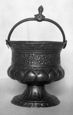<em>Vessel with Loop Handle</em>, 19th century?. Bronze?, 7 1/4 x 4 1/4 x 4 1/4 in. (18.4 x 10.8 x 10.8 cm). Brooklyn Museum, Charles Edwin Wilbour Fund, 37.1545E. Creative Commons-BY (Photo: Brooklyn Museum, 37.1545E_glass_bw.jpg)