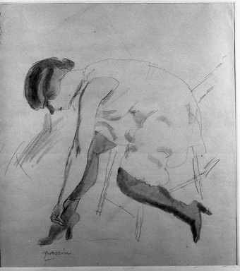Jules Pascin (French, 1885-1930). <em>Girl Dressing</em>. Watercolor Brooklyn Museum, Brooklyn Museum Collection, 37.159 (Photo: Brooklyn Museum, 37.159_acetate_bw.jpg)