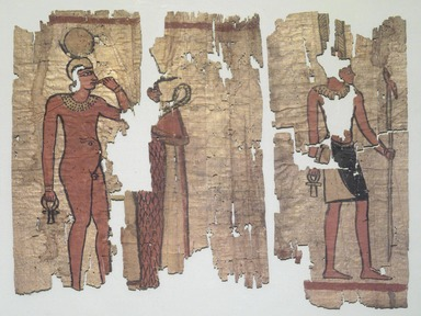 <em>Ilustrated Papyrus</em>, 4th-3rd century B.C.E. Papyrus, pigment, ink, 37.1647Ea1: 13 9/16 × 6 9/16 in. (34.5 × 16.6 cm). Brooklyn Museum, Charles Edwin Wilbour Fund, 37.1647Ea-e (Photo: Brooklyn Museum, 37.1647Ea-e_view1_cropped.jpg)