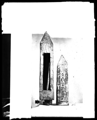 <em>Obelisk-Shaped Papyrus Container</em>, 664-332 B.C.E. Wood, 15 15/16 x 3 1/8 x 3 1/8 in. (40.5 x 7.9 x 7.9 cm). Brooklyn Museum, Charles Edwin Wilbour Fund, 37.1722E. Creative Commons-BY (Photo: , 37.1722E_37.1723E_GrpA_SL4.jpg)