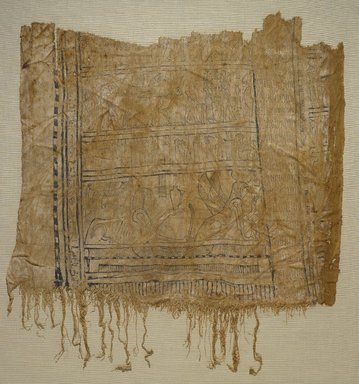 <em>Funerary Shroud</em>, 1st century B.C.E. or later. Linen, pigment, gold leaf, 37.1815Ea: 16 15/16 x 19 5/16 in. (43 x 49 cm). Brooklyn Museum, Charles Edwin Wilbour Fund, 37.1815Ea-b. Creative Commons-BY (Photo: Brooklyn Museum, 37.1815Ea_PS9.jpg)
