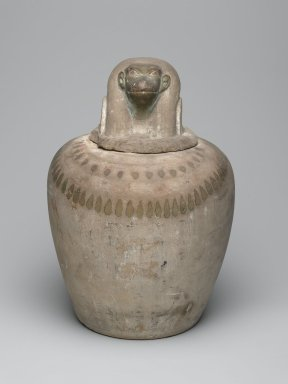 <em>Canopic Jar</em>, ca. 1539-1075 B.C.E. Limestone, pigment, 4 5/16 x 4 3/4 x 4 1/16 in. (10.9 x 12 x 10.4 cm). Brooklyn Museum, Charles Edwin Wilbour Fund, 37.1896Ea-b. Creative Commons-BY (Photo: Brooklyn Museum, 37.1896Ea-b_front_PS2.jpg)