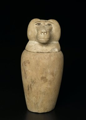 <em>Canopic Jar with Baboon-Headed Cover</em>, ca. 1075-656 B.C.E. or later. Limestone, a: 9 3/16 in. (23.4 cm), rim 4 13/16 in. (12.3 cm), mouth 4 7/16 in. (11.2 cm), dia. of cavity 5 5/16 in. (13.5cm), body 6 1/16 in. (15.4 cm), base 3 15/16 in. (10 cm). Brooklyn Museum, Charles Edwin Wilbour Fund, 37.1904Ea-b. Creative Commons-BY (Photo: Brooklyn Museum, 37.1904Ea-b_front_PS2.jpg)