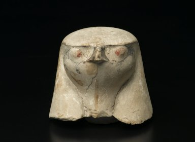 <em>Hawk-Headed Cover of Canopic Jar</em>, ca. 1292-1075 B.C.E. Limestone, 3 3/4 x 4 3/16 x 3 7/8 x 1 3/4 in. (9.6 x 10.6 x 9.8 x 4.4 cm). Brooklyn Museum, Charles Edwin Wilbour Fund, 37.1906E. Creative Commons-BY (Photo: Brooklyn Museum, 37.1906E_front_PS2.jpg)