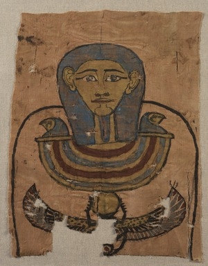 <em>Mummy Shroud Fragment</em>. Linen, pigment, 17 11/16 x 14 3/16 in. (45 x 36 cm). Brooklyn Museum, Charles Edwin Wilbour Fund, 37.1981E. Creative Commons-BY (Photo: Brooklyn Museum, 37.1981E_PS11.jpg)
