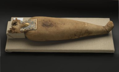 <em>Ibis Mummy</em>, 664-332 B.C.E. Animal remains, linen, cartonnage, pigment, 23 × 7 × 4 in. (58.4 × 17.8 × 10.2 cm). Brooklyn Museum, Charles Edwin Wilbour Fund, 37.1986E. Creative Commons-BY (Photo: Brooklyn Museum, 37.1986E_threequarter_PS2.jpg)