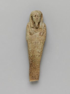 <em>Ushabti of Uza-hor</em>, 664-525 B.C.E. Faience, Height: 4 3/4 in. (12 cm). Brooklyn Museum, Charles Edwin Wilbour Fund, 37.203E. Creative Commons-BY (Photo: Brooklyn Museum, 37.203E_front_PS2.jpg)