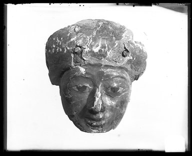 <em>Face from A Coffin</em>, ca. 1075-945 B.C.E. Wood, gesso, pigment, 7 1/2 x 2 15/16 x 8 1/16 in. (19 x 7.4 x 20.5 cm). Brooklyn Museum, Charles Edwin Wilbour Fund, 37.2041.10E. Creative Commons-BY (Photo: Brooklyn Museum, 37.2041.10E_NegA_SL4.jpg)