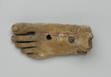 <em>Left Foot from an Anthropoid Coffin</em>, 30 B.C.-2nd century C.E. Wood, gesso, pigment, 2 1/16 x 3 1/5 x 6 5/8 in. (5.2 x 7.7 x 16.8 cm). Brooklyn Museum, Charles Edwin Wilbour Fund, 37.2041.1E. Creative Commons-BY (Photo: Brooklyn Museum, 37.2041.1E_top_PS2.jpg)