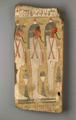 <em>Sons of Horus on Coffin Fragment</em>, ca. 1075–945 B.C.E. Wood, pigment, 20 1/4 x 9 9/16 x 2 in. (51.5 x 24.3 x 5.1 cm). Brooklyn Museum, Charles Edwin Wilbour Fund, 37.2043.2E. Creative Commons-BY (Photo: Brooklyn Museum, 37.2043.2E_PS2.jpg)