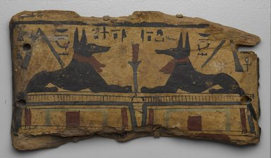 <em>Coffin Fragment with Two Images of Anubis</em>, ca. 1292 B.C.E. or later. Wood, pigment, 5 7/8 x 11/16 x 10 5/8 in. (15 x 1.7 x 27 cm). Brooklyn Museum, Charles Edwin Wilbour Fund, 37.2045E (Photo: Brooklyn Museum, 37.2045E_PS9.jpg)