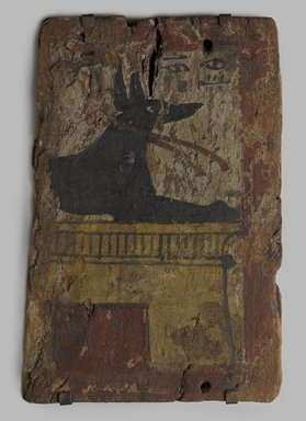 <em>Coffin Fragment with Image of Anubis</em>, ca. 1539-1075 B.C.E., or later. Wood, gesso, pigment, 8 7/16 x 5 11/16 x 9/16 in. (21.5 x 14.4 x 1.4 cm). Brooklyn Museum, Charles Edwin Wilbour Fund, 37.2047E (Photo: Brooklyn Museum, 37.2047E_PS9.jpg)